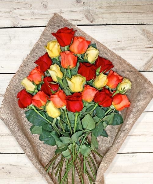 Flowers: Two Dozen Assorted Color Roses