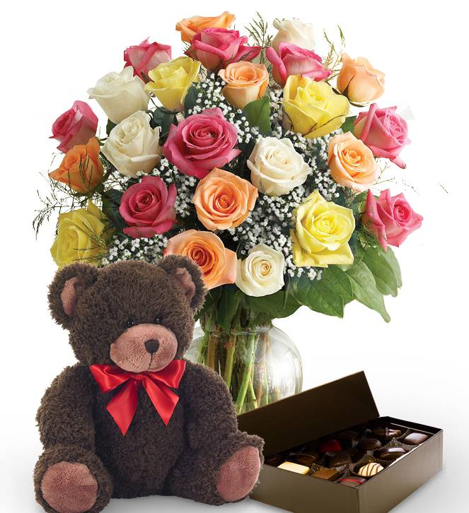 Two Dozen Mother's Day Roses, Bear & Chocolates