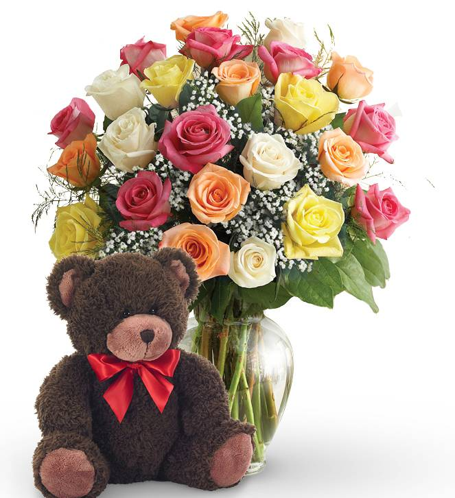 Two Dozen Mother's Day Roses & Bear