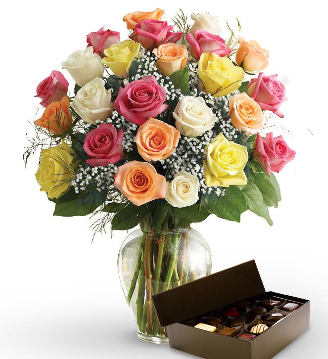 Two Dozen Mother's Day Roses & Chocolates