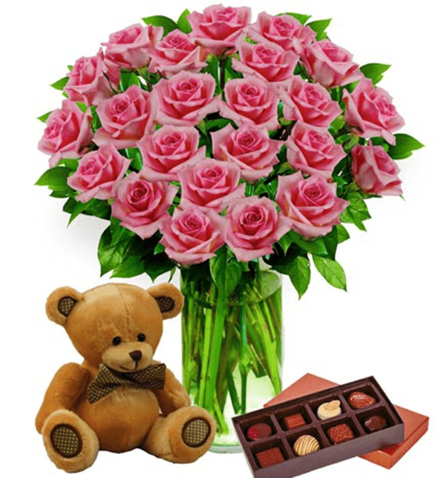 Two Dozen Pink Roses, Bear & Chocolates