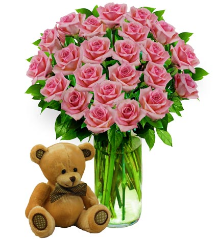 Two Dozen Pink Roses & Bear