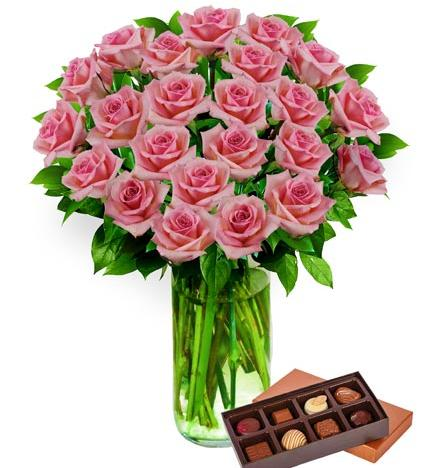 Flowers: Two Dozen Pink Roses And Chocolates