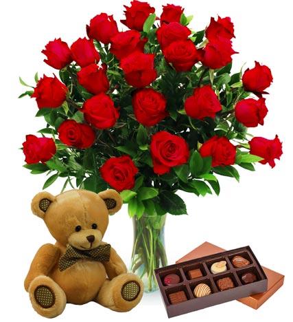 Two Dozen Red Roses, Bear & Chocolates