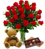 Two Dozen Red Roses, Bear & Chocolates