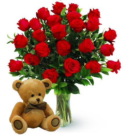 Two Dozen Red Roses & Bear