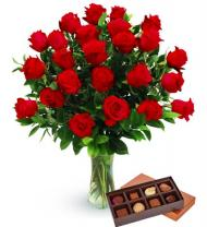 Two Dozen Red Roses & Chocolates