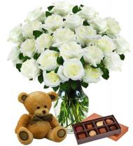 Two Dozen White Roses, Bear & Chocolates