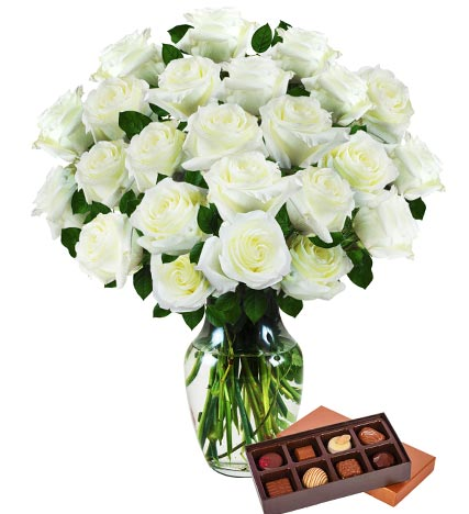 Two Dozen White Roses & Chocolates