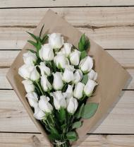 24 White Roses - Farm Fresh