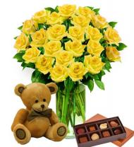Two Dozen Yellow Roses, Bear & Chocolates