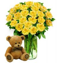 Two Dozen Yellow Roses & Bear