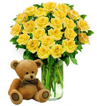 Two Dozen Yellow Roses & Bear