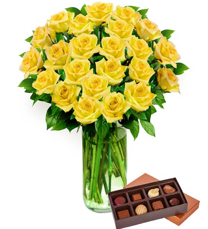 Two Dozen Yellow Roses & Chocolates