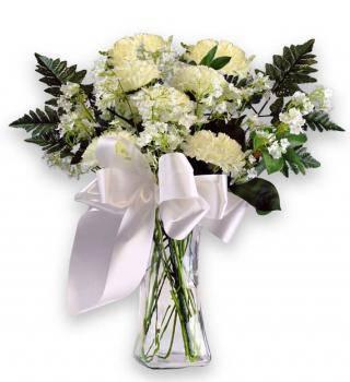 White Carnation Sympathy Bouquet