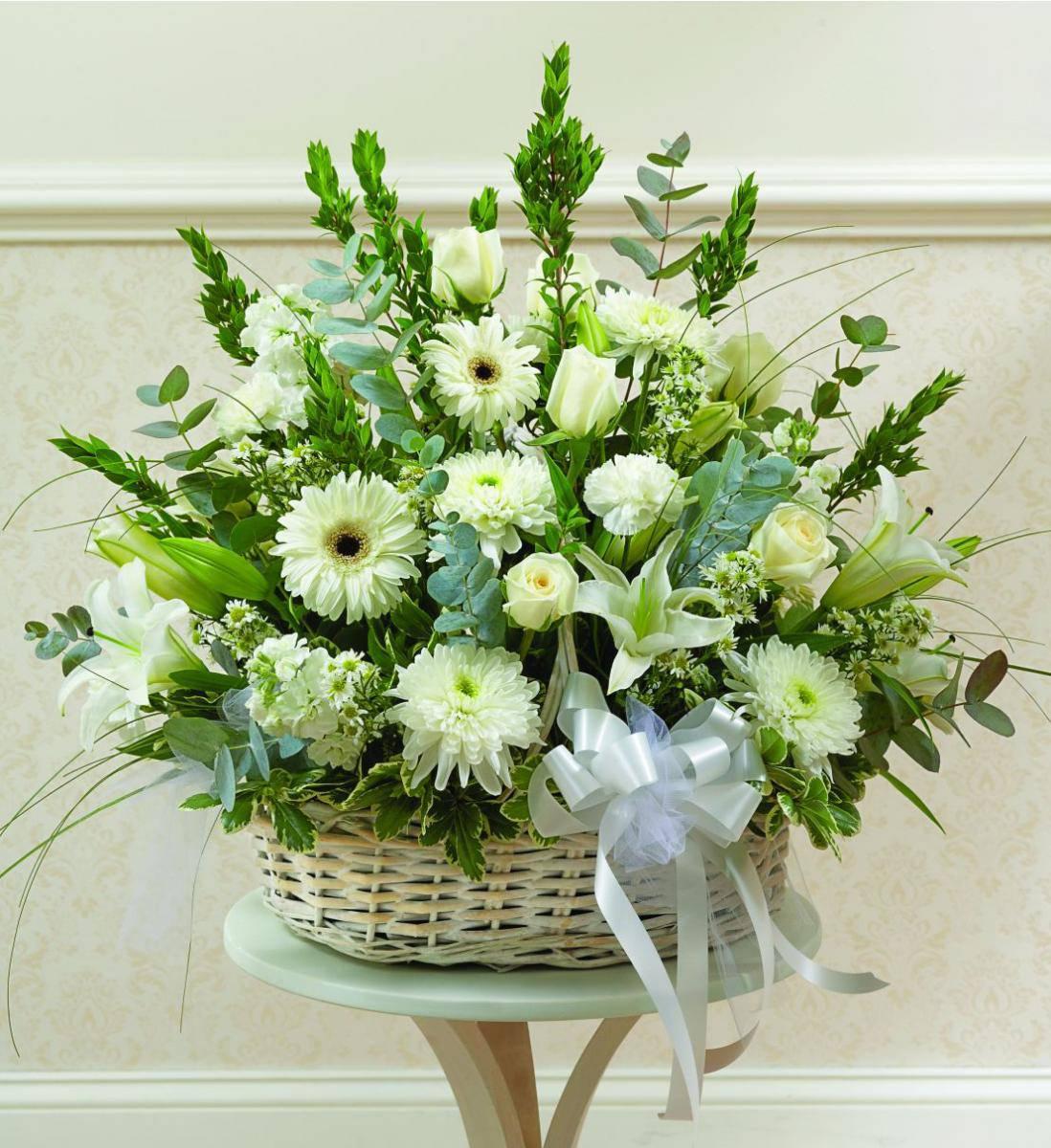 White Sympathy Basket Avas Flowers