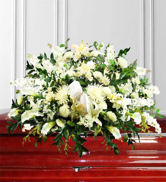 White Sympathy Casket Spray