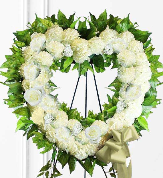 White Sympathy Heart Wreath