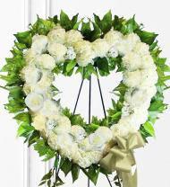 White Sympathy Heart Wreath
