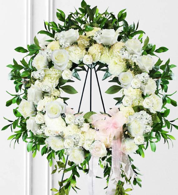 White Sympathy Wreath Avas Flowers