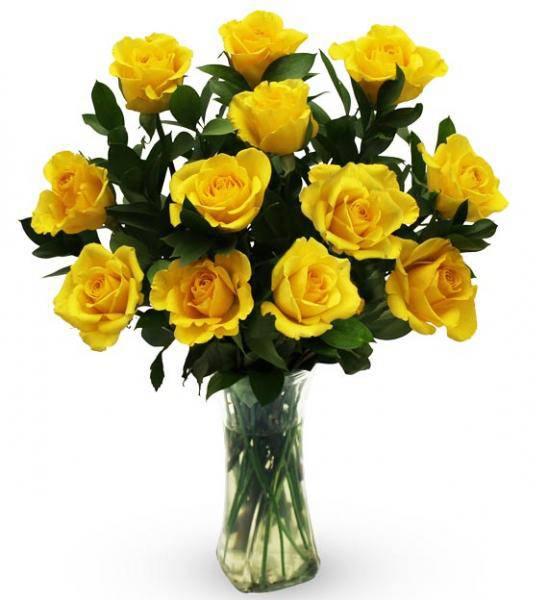 Flowers:_One_Dozen_Yellow_Roses_In_Vase
