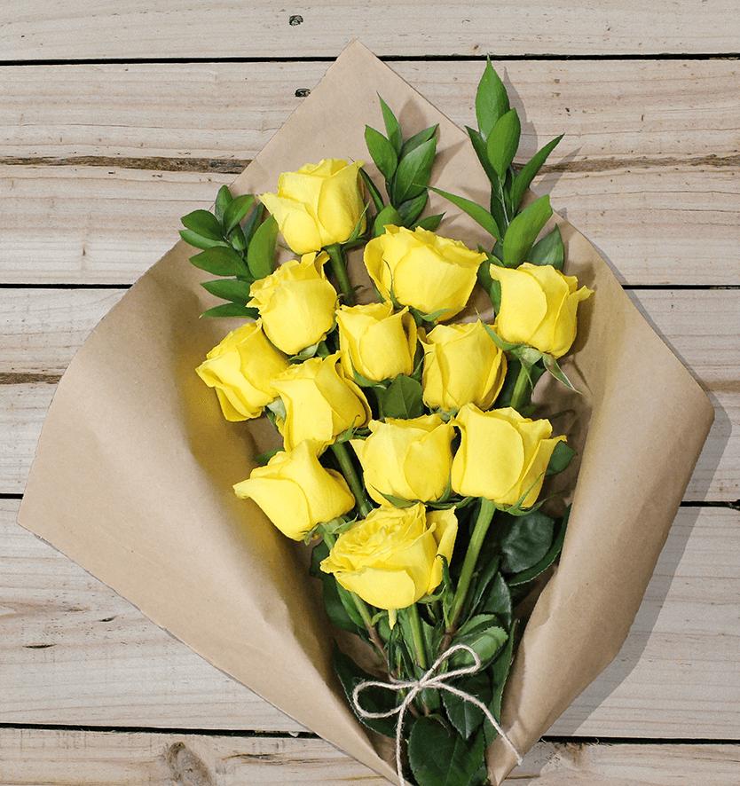 12 Yellow Roses - Farm Fresh