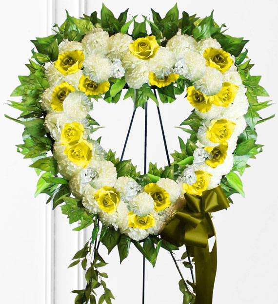 Yellow Sympathy Heart Wreath